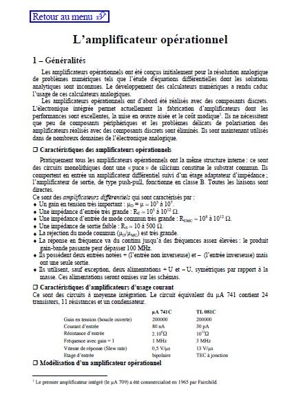 Tutoriel en pdf sur les amplificateurs opérationnels