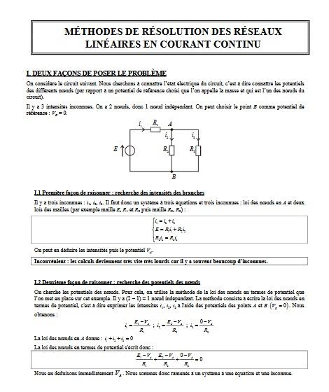 Méthodes des résolutions des réseaux linéaires en courant continu