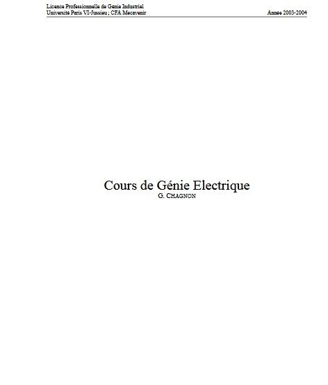 Cours de Génie Électrique