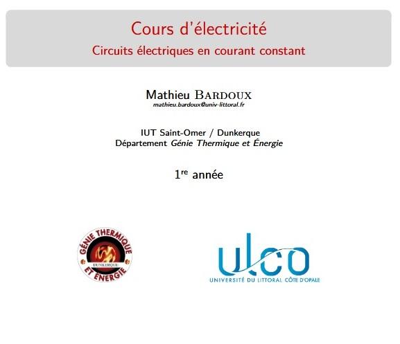 Cours d'électricité, circuits électriques en courant constant