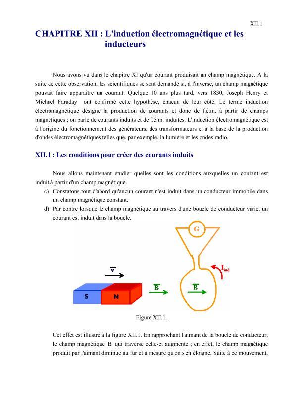Cours et exercices : L'induction électromagnétique et les inducteurs