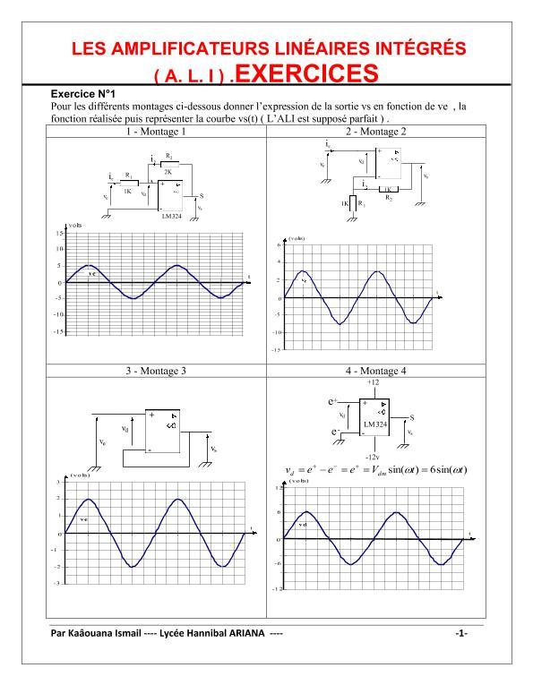 Exercices : Les amplificateurs linéaires intégrés