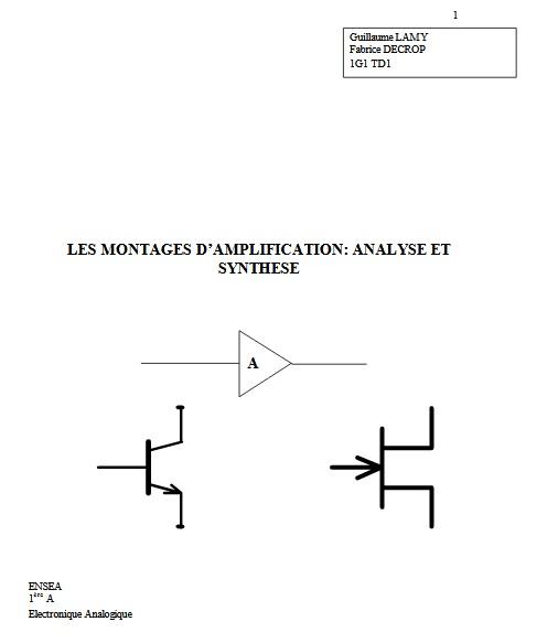 Montage d'amplification, analyse et synthése